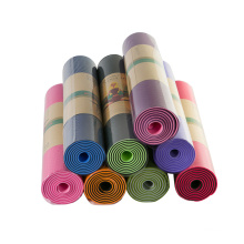 Wholesale oem Eco Friendly Pilates Tpe Anti-slip Gym or Indoor Exercise custom Double-layer tpe yoga mat