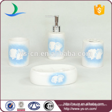Fashion sea shell decal ceramic 4pcs bath accessory