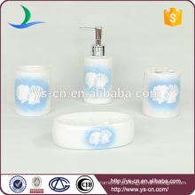 Fashion mar decalque shell acessório de banho de cerâmica 4pcs