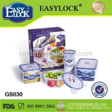 Easylock 3pcs caixa de almoço de plástico com Refrigerador Manter alimentos quentes