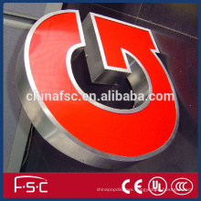 Advertising material led acrylic and stainless steel letter sign