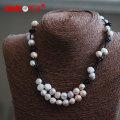 Wunderschöne Mode Echtes Leder Frischwasser Perle Halskette Großhandel (E130153)