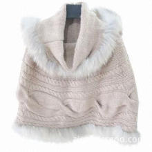 Women's Knitted Racoon Fur Shawl, Pullover Design