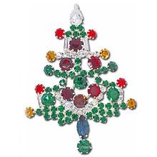 Flores coloridas en forma de diamante de imitación broche de árbol de navidad para las vacaciones