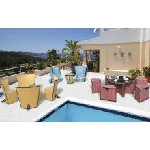 Cadeira empilhável de vime de jardim ao ar livre