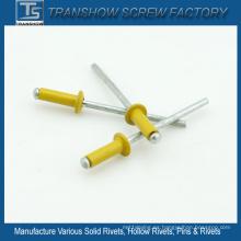 Remache ciego amarillo tipo abierto de aleación de aluminio