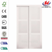 60 in. x 80 in. 2030 Series Composite White 3-Lite Tempered Frosted Glass Sliding Door