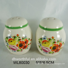 Ceramic flower decal printing salt and pepper set