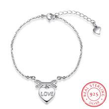 2017 New Design Romantic Fashion Bracelet en Acier Sterling 925 Heart Shape Love