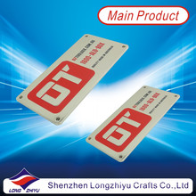 Paint Filled Zinc Alloy Name Plate Adhesive Tape Metal Plate
