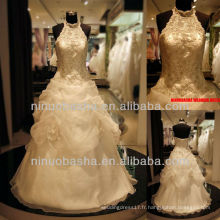 Q-6259 Halter Lace Bodice Robe de mariée Ball Gown Jupe Robe de mariée