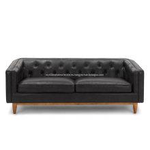 Sofá de cuero negro Alcott Oxford