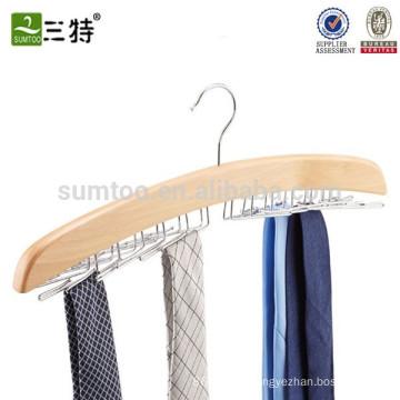 Natural wood tie rack