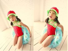2015 Baby girls swim suit watermalon swim suit girls swimming suit red and green swimsuit with hat