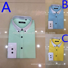 Top Rated 2014 White Turn-Down Collar Com Punho Branco Single Breasted Multi-Color Men's Casual Shirts NB0568