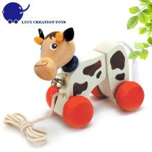 Kinder Gute Freund Hölzerne Lovely Cow Pull Roll-Along Spielzeug für Kleinkinder