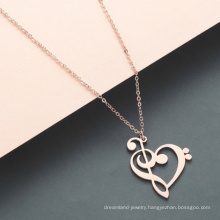 Stainless Steel PVD Gold Plated Note Pendant Heart Necklace For Mothers Day Gifts