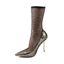 2019 factory custom logo size sexy diamond jacquard fabric upper stiletto heel sock women boots