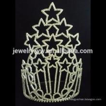 Рождественская мода украшения для волос звезды Tall Pageant Crown Tiara