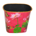 Пластиковый лотос с печатным рисунком Open Top Dustbin для дома / кухни / офиса (B06-069)