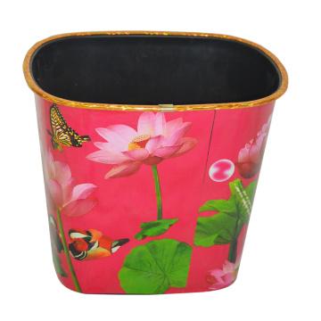 Plastic Lotus Printed Pattern Open Top Dustbin pour la maison / Cuisine / Bureau (B06-069)