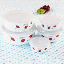 enamel fruit ice bowl with PE lids & cheap enamel bowl