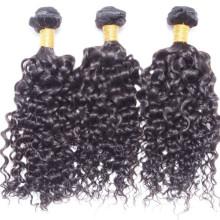 por atacado virgem da Malásia cabelos ondulados, extensão de cabelo encaracolado para mulheres negras