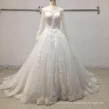 Vestido de casamento nupcial de bola de laço de manga longa