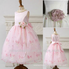 Scoop Ball Gown Tea Length Embroidery Handcrafted Floral Flower Girl Dress Wedding Gown