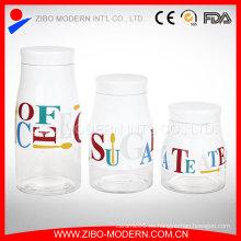 Revestimiento de vidrio tarros y tapas Venta al por mayor de vidrio Jar Set de almacenamiento