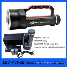 4psc large 40w cree waterproof handle diving torch best cree led flashlight