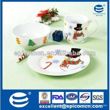 3pcs fiesta ware porcelain breakfast set with bowl & plate & mug for children daily use