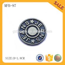 MFB97 grossistas chumbo livre personalizado gravado botão de calças de metal para roupas