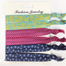 Elastic Ribbon Hair Ties with Prints (HEAD-333)