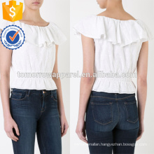 Boat Neck Ruffle Eyelet Short Sleeve Cotton Summer Top Manufacture Wholesale Fashion Women Apparel (TA0071T)