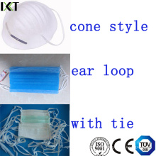 Máscara de rosto cirúrgico Ready Made Supplier Ear Loop Tied Cone Types Kxt-FM01