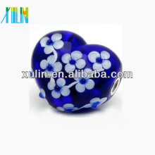 20*20mm blue heart glass beads fit bracelet decoration