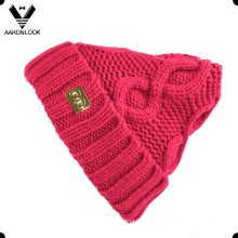 Lady′s Fashion Acrylic Crochet Knit Pattern Cable Beanie