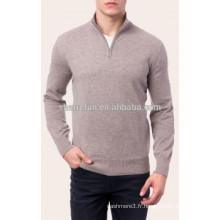 gros classique 12gg tricoté demi-zip pur hommes pull en cachemire