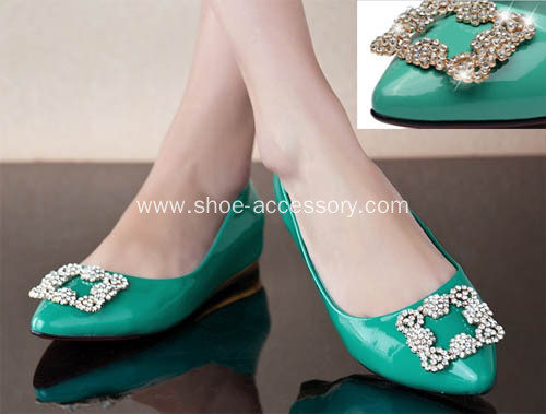 Latest Rhinestone Shoe Clips for Lady, Popular Metal Shoe Buckle with Rhinestone Trimming