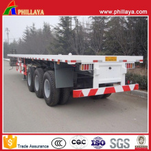Tri-Axles 60tons Flatbed Truck Cargo Flat Bed Semi Trailer
