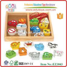 Nette Traffic Tier Perlen Holz Schnürung Spielzeug