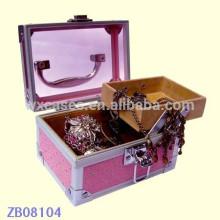 Nova caixa de joias de alumínio de chegada com tampa de vidro