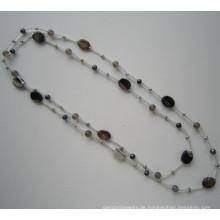 Daking handgeknüpfte Schnur Halskette mit Süßwasserperle und Stein