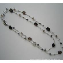 Daking Рука завязанный шнур ожерелье с пресноводной жемчужиной и камень