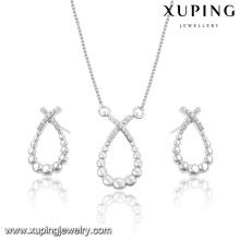 63931-Wholesale Silber Rhodium Perlen Schmuck-Sets