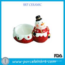 Рождественский снеговик фарфоровый подсвечник