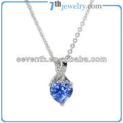 Cute Lucky Heart Shaped Blue AAA CZ Diamond Pendant Necklace Rhodium Plated Brass Necklace 2013 Cheap Fashion Jewelry For Women