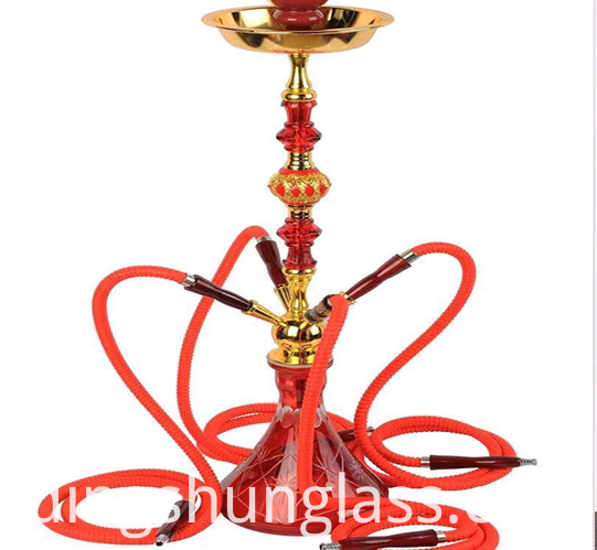 Detachable red four pipe hookah