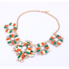 Orange and green resin stones Chokers Statement Necklace For Women,Fashion False Collar Necklace Jewelry Wholesale